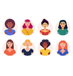 different women avatar icons set vector image