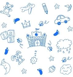 Doodle art for kids place toy and sky vector image