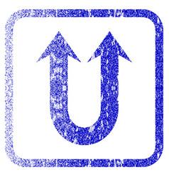 Double forward arrow framed textured icon vector