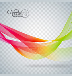 elegant flowing color wave design on transparent vector image