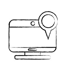 figure computer technology with magnifying glass vector image