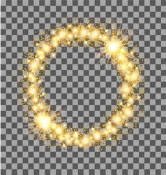 Gold glow glitter circle frame with stars on vector