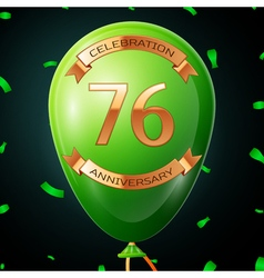 Green balloon with golden inscription seventy six vector