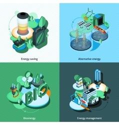 Green energy isometric vector