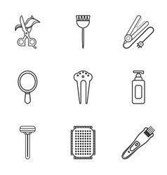 hairdressing icons set outline style vector image