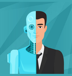 half cyborg half human man businessman in suit vector image