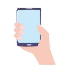 hand holding smartphone gadget technology isolated vector image