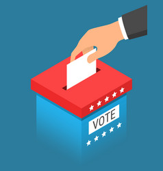 Hand putting paper in blue ballot box vector