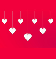 hanging white valentines hearts with red vector image