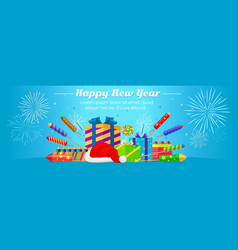 happy new year 2017 set fireworks gift boxes vector image