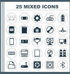 Hardware icons set collection of connected vector