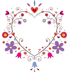 heart flowers frame vector image