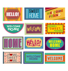 Home mat welcome doormat in front of house vector