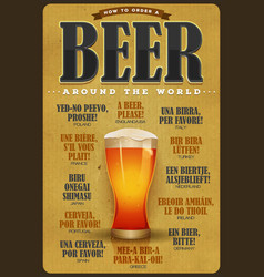 How to order a beer around the world poster vector