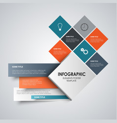 Info graphic with abstract design colored squares vector