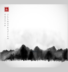 Ink wash painting with winter forest trees vector
