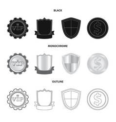 Isolated object emblem and badge symbol set of vector