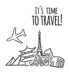 its time to travel plane travel landmark backgroun vector image