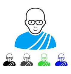 joyful buddhist monk icon vector image vector image