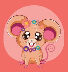 kawaii mouse with flowers vector image