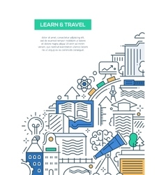 Learn and travel composition - line flat design vector image