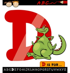 letter d with dragon cartoon vector image
