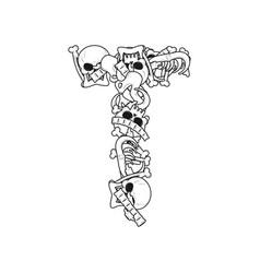 Letter t skeleton bones font anatomy of an vector