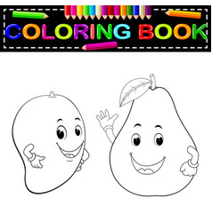 Mango and avocado with face coloring book vector