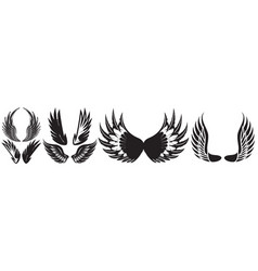 Monochrome set different wings for design vector