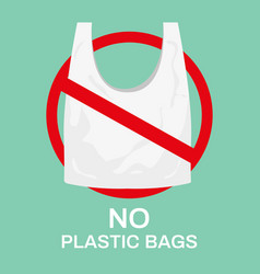 no plastic bags eco shopping bag market recycle vector image