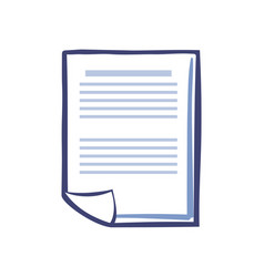 Office paper document page isolated icon vector