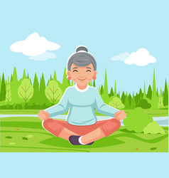 outdoor park nature fitness meditation adult old vector image