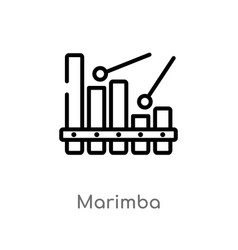 Outline marimba icon isolated black simple line vector