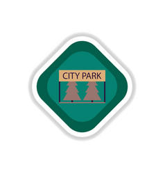 Paper sticker on white background city park vector