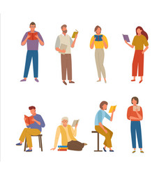 people read books set characters carefully study vector image