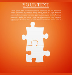 piece of puzzle icon isolated on orange background vector image