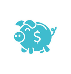 piggy bank money business finance color silhouette vector image