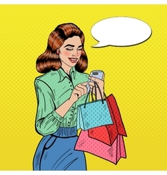 Pop Art Woman with Shopping Bags and Phone vector image