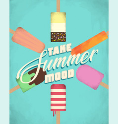 poster summer timeice cream vector image