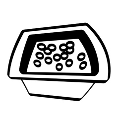 Pot chicken food utensils outline vector