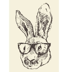 Rabbit head hipster glasses hand drawn sketch vector