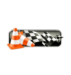 Racing banner with traffic cones vector