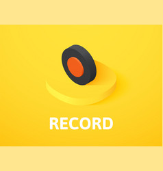 Record isometric icon isolated on color vector