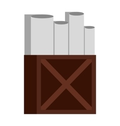 Rolls of white paper in wooden box icon flat style vector