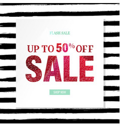 Sale poster with glitter and watercolor line vector