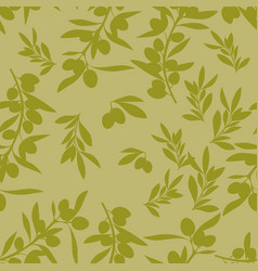 seamless pattern of olive branches mediterranean vector image