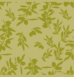 Seamless pattern olive branches mediterranean vector