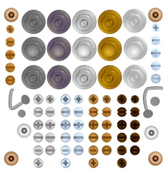 set bolt and screw heads vector image