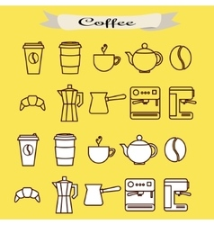 set coffee line icons vector image