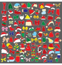 Set doodle Christmas objects vector